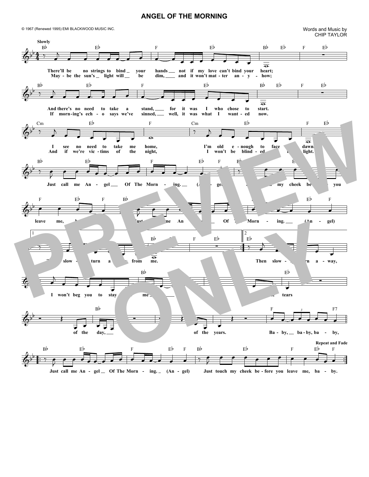 Angel Of The Morning (Lead Sheet / Fake Book)