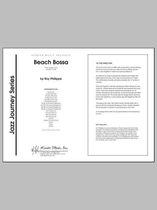 Beach Bossa (COMPLETE) sheet music for jazz band by Phillippe. Score Image Preview.