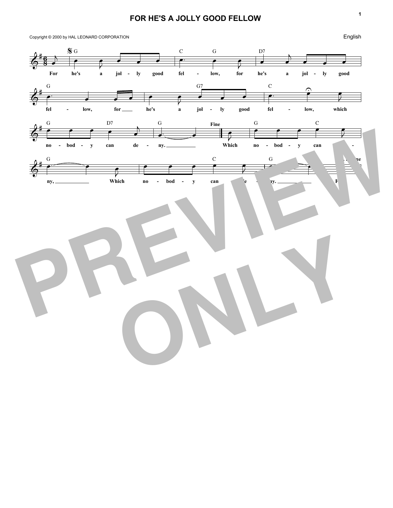 For He's A Jolly Good Fellow (Lead Sheet / Fake Book)