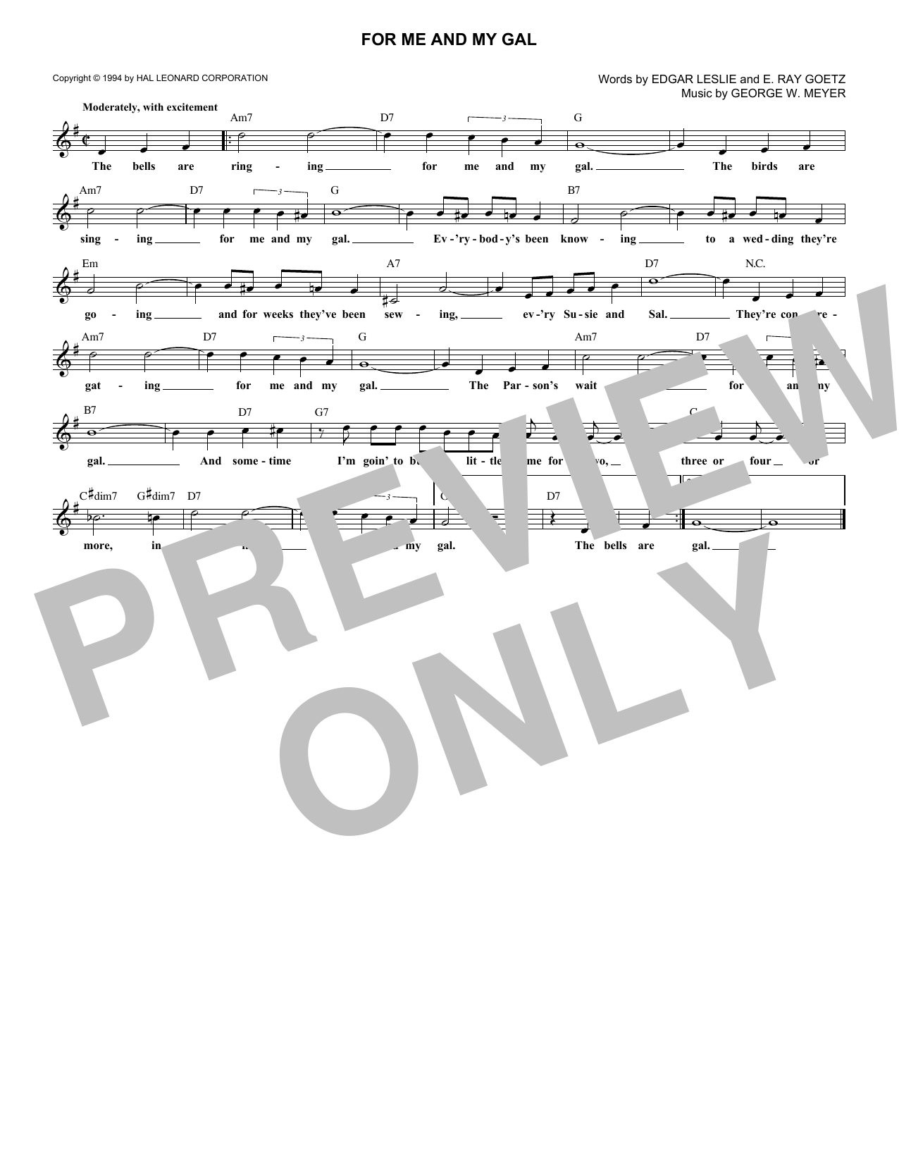 For Me And My Gal (Lead Sheet / Fake Book)