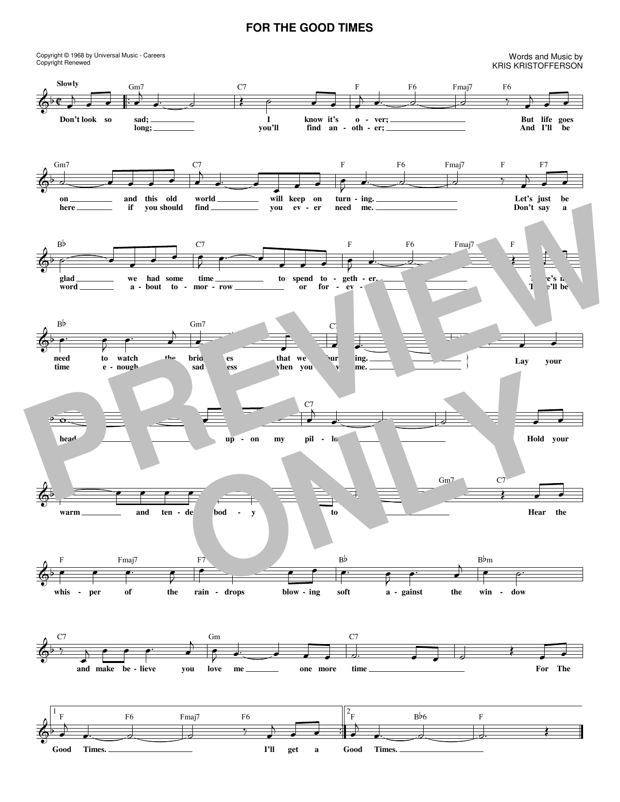 For The Good Times (Lead Sheet / Fake Book)