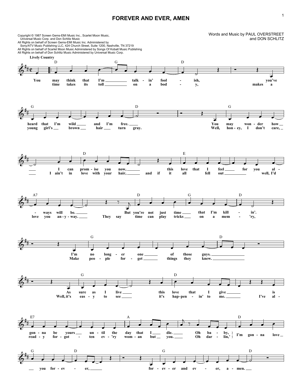Forever And Ever, Amen (Lead Sheet / Fake Book)