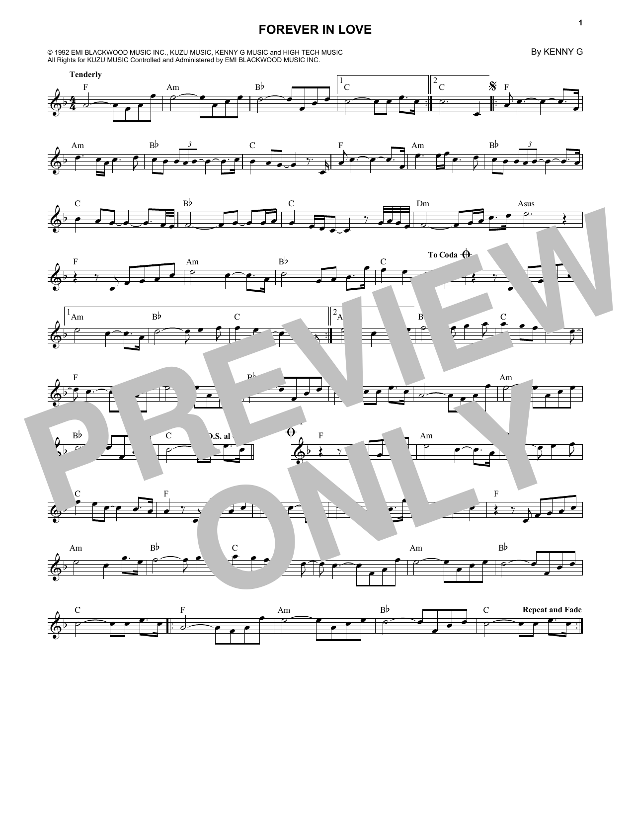 Forever In Love (Lead Sheet / Fake Book)