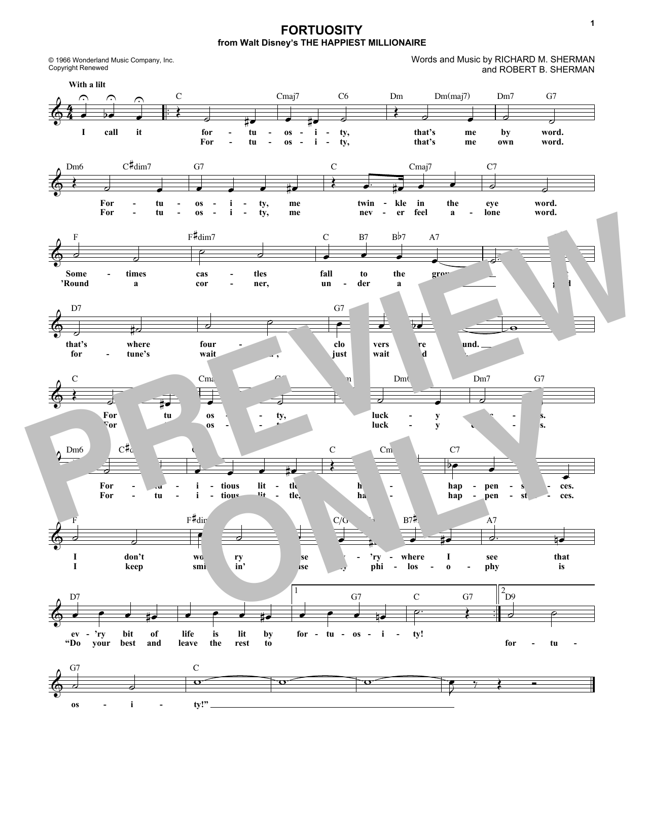Fortuosity (Lead Sheet / Fake Book)