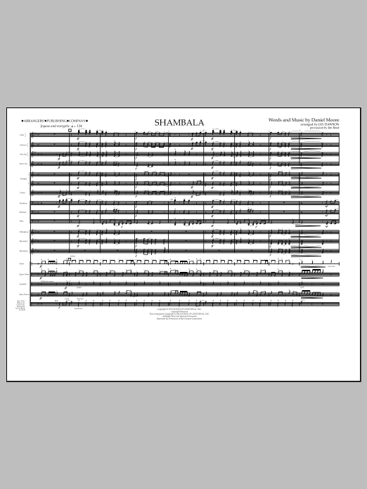 Shambala (COMPLETE) sheet music for marching band by Jay Dawson and Three Dog Night. Score Image Preview.