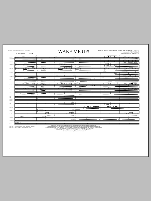 Wake Me Up! (COMPLETE) sheet music for marching band by Tom Wallace and Avicii. Score Image Preview.