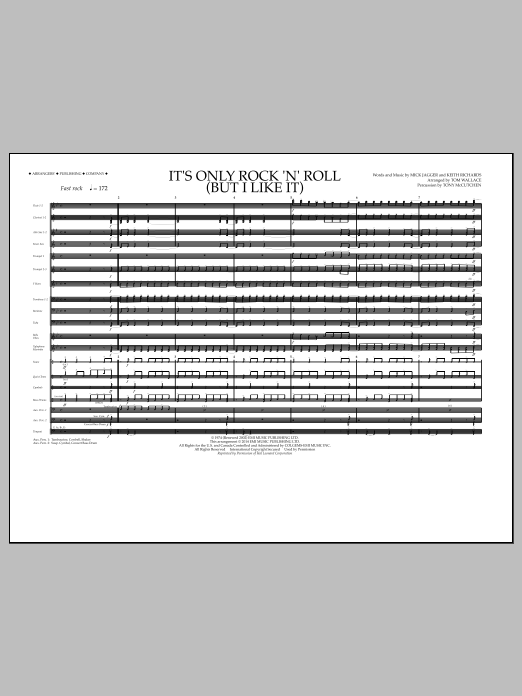 It's Only Rock 'n' Roll (But I Like It) (COMPLETE) sheet music for marching band by Tom Wallace and The Rolling Stones. Score Image Preview.