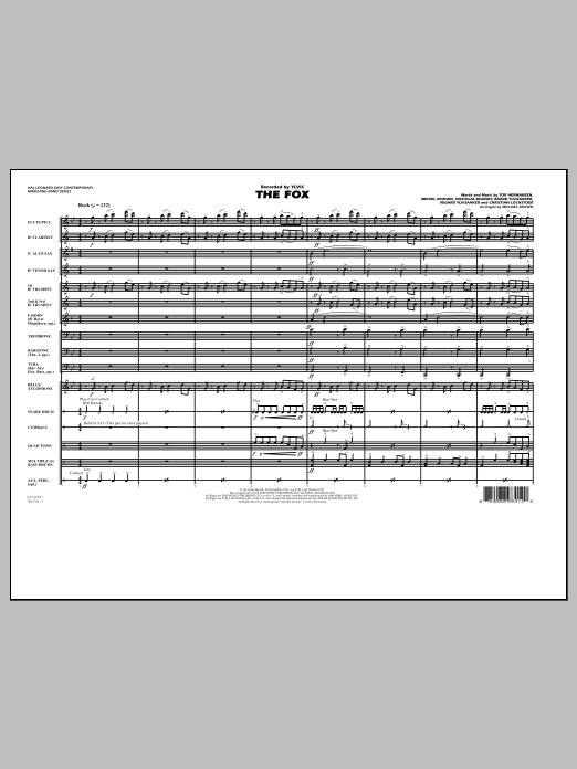 The Fox (COMPLETE) sheet music for marching band by Michael Brown, Mikkel Eriksen, Tor Erik Hermansen, Vegard Ylvisaaker and Ylvis. Score Image Preview.