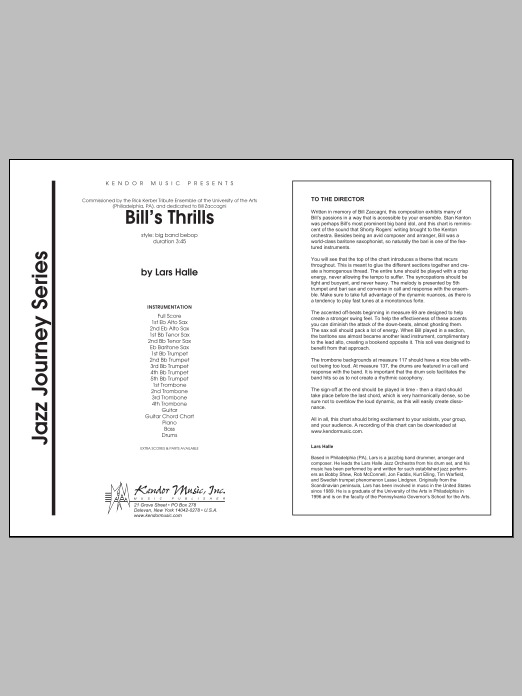 Bill's Thrills (COMPLETE) sheet music for jazz band by Halle. Score Image Preview.