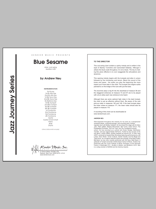 Blue Sesame (COMPLETE) sheet music for jazz band by Neu. Score Image Preview.