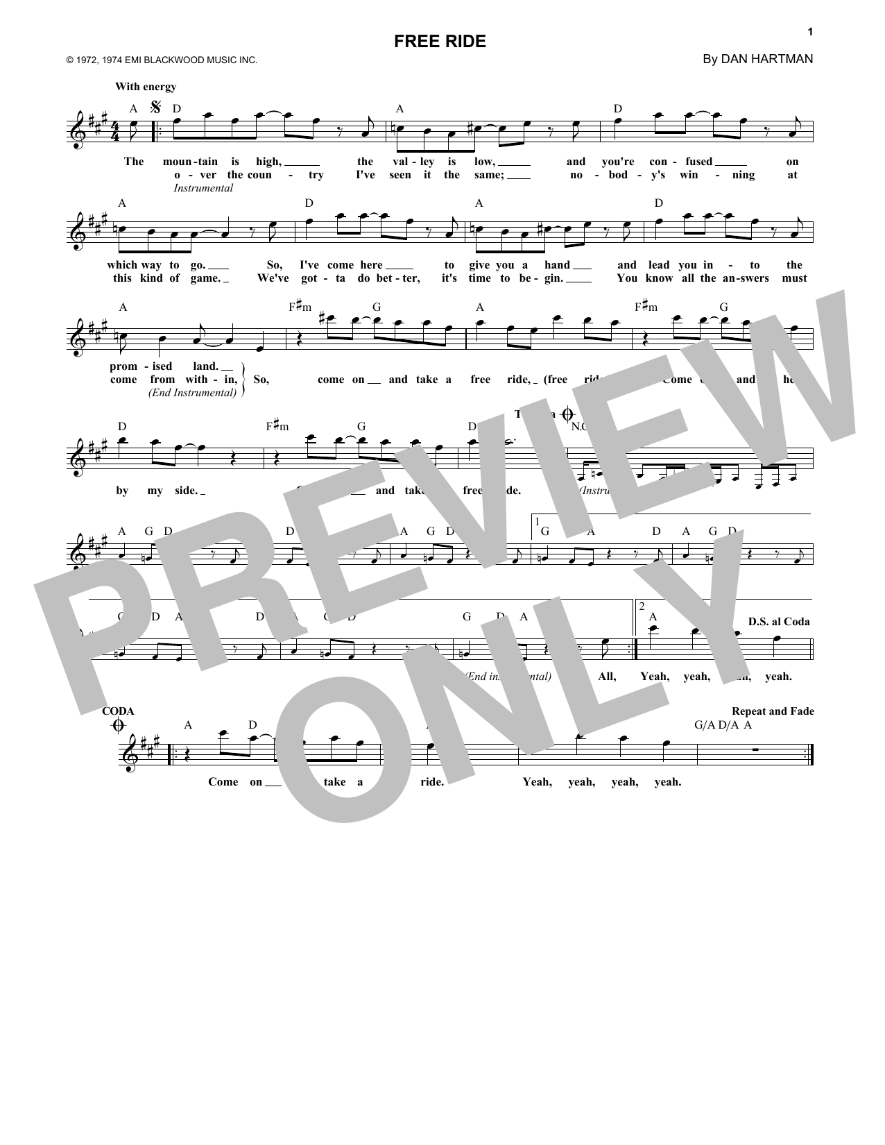 Free Ride (Lead Sheet / Fake Book)