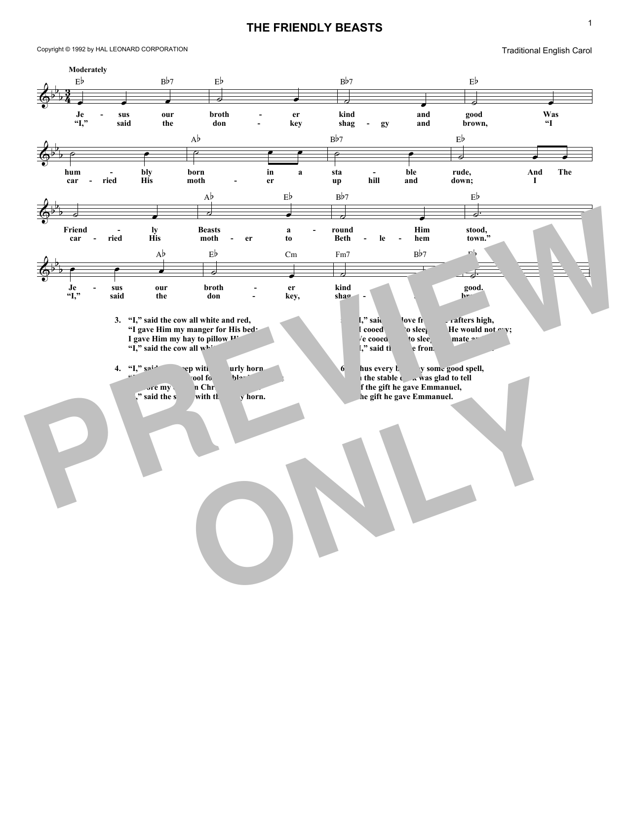 The Friendly Beasts (Lead Sheet / Fake Book)