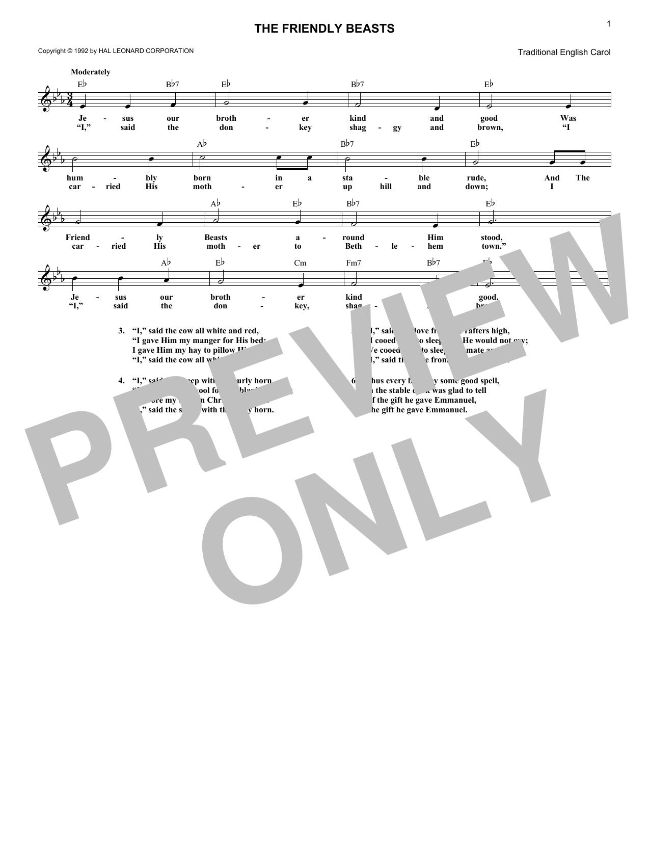 The Friendly Beasts (Melody Line, Lyrics & Chords)