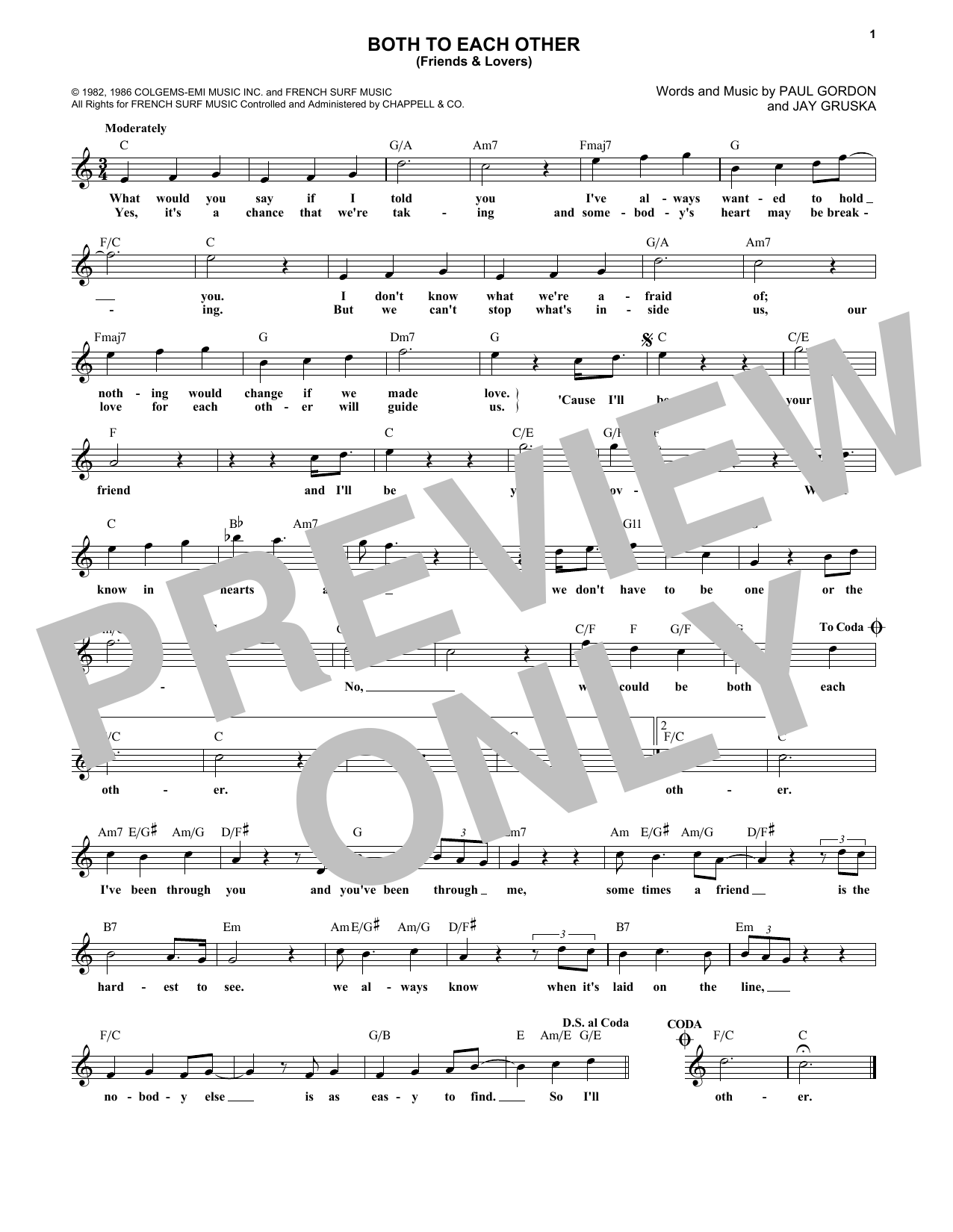 Both To Each Other (Friends and Lovers) (Lead Sheet / Fake Book)