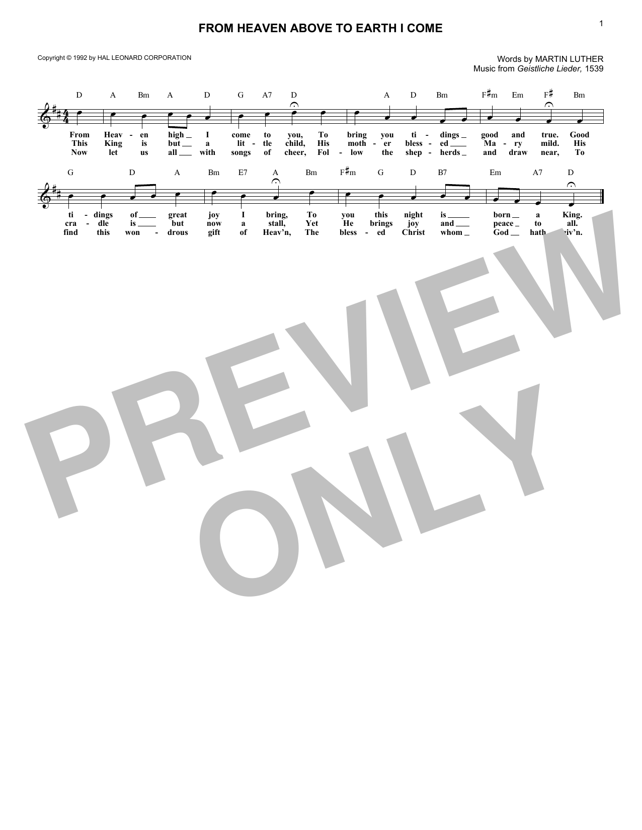 From Heaven Above To Earth I Come (Lead Sheet / Fake Book)
