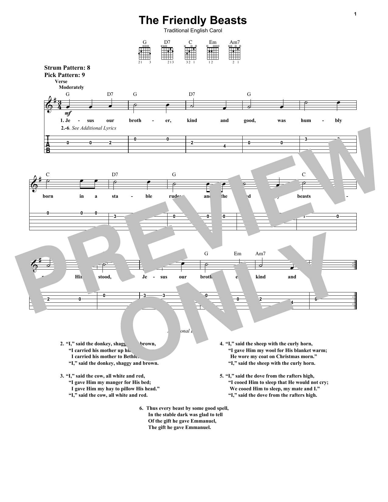 Tablature guitare The Friendly Beasts de Traditional English Carol - Tablature guitare facile