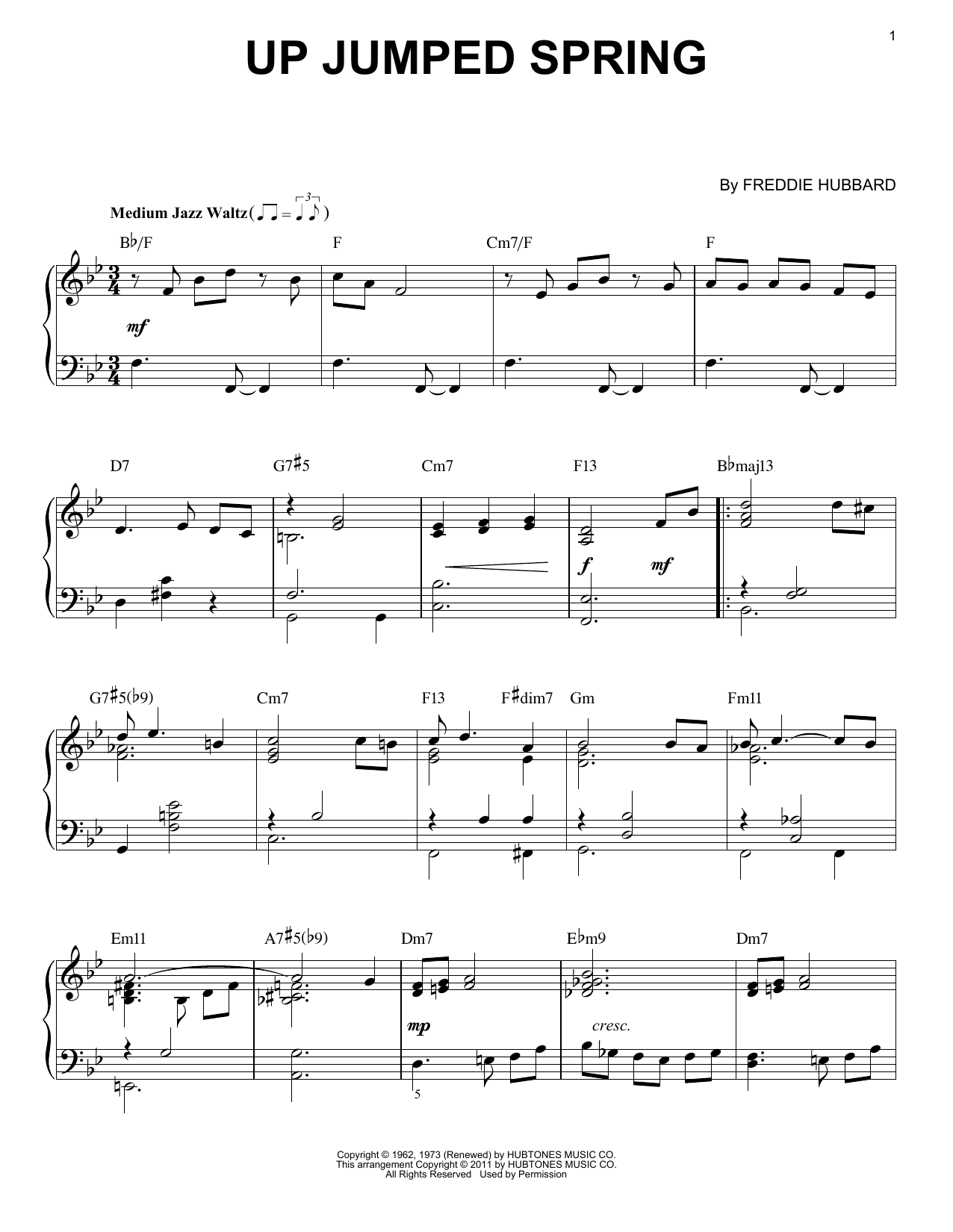 Up Jumped Spring Sheet Music | Freddie Hubbard | Piano Solo