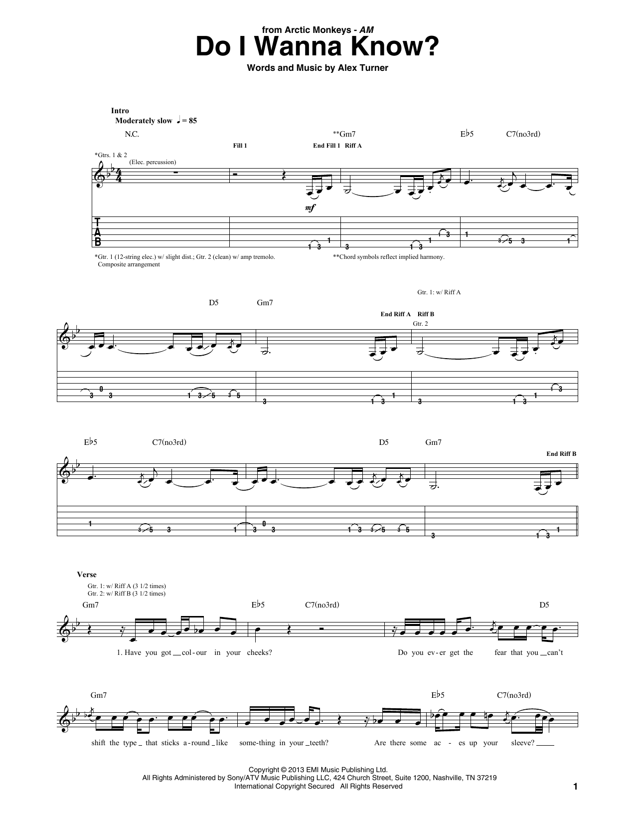 Do I Wanna Know? Sheet Music