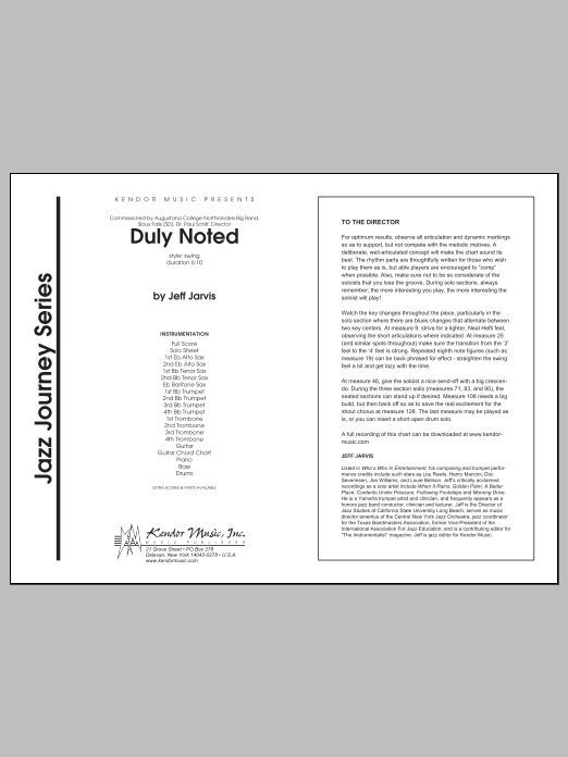 Duly Noted (COMPLETE) sheet music for jazz band by Jarvis. Score Image Preview.