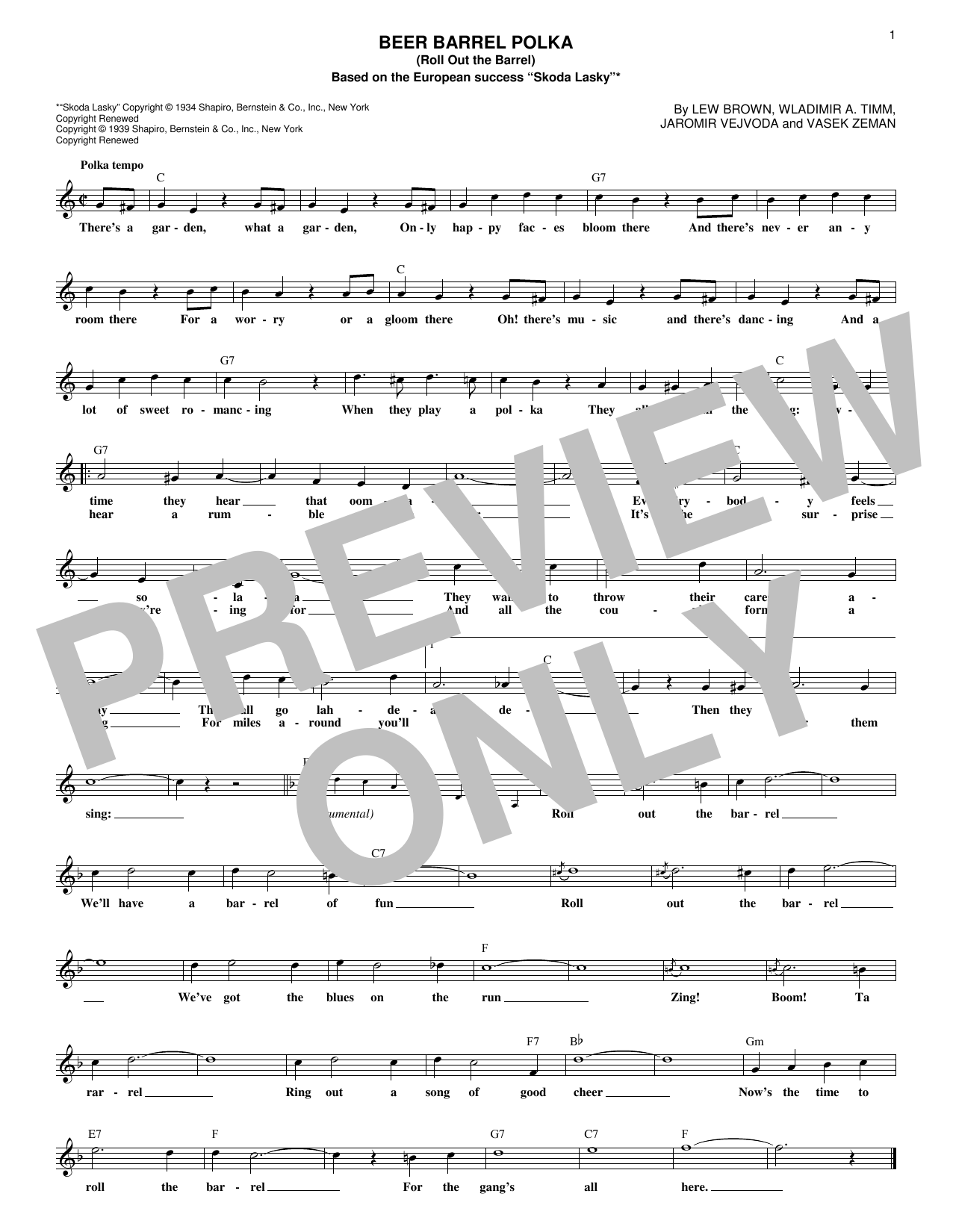 Beer Barrel Polka (Roll Out The Barrel) (Lead Sheet / Fake Book)