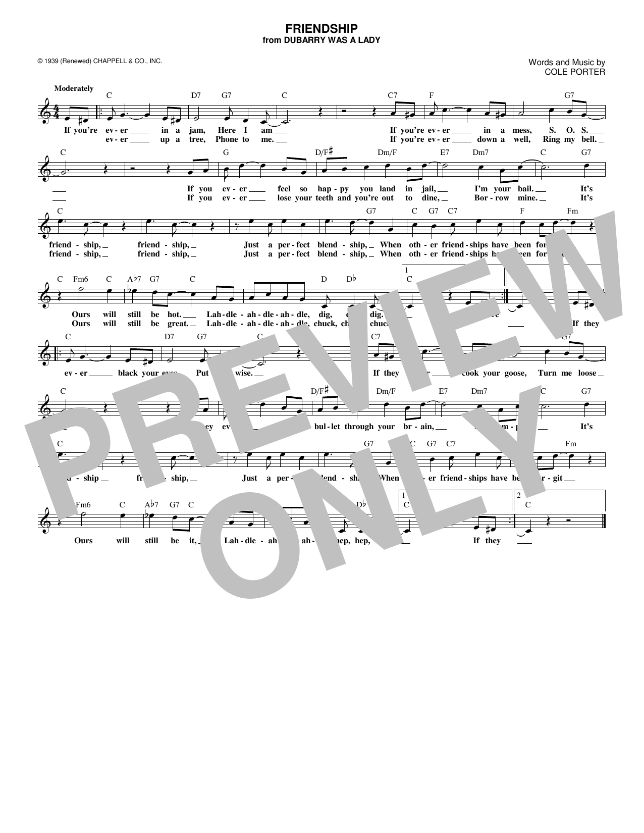 Friendship (Lead Sheet / Fake Book)