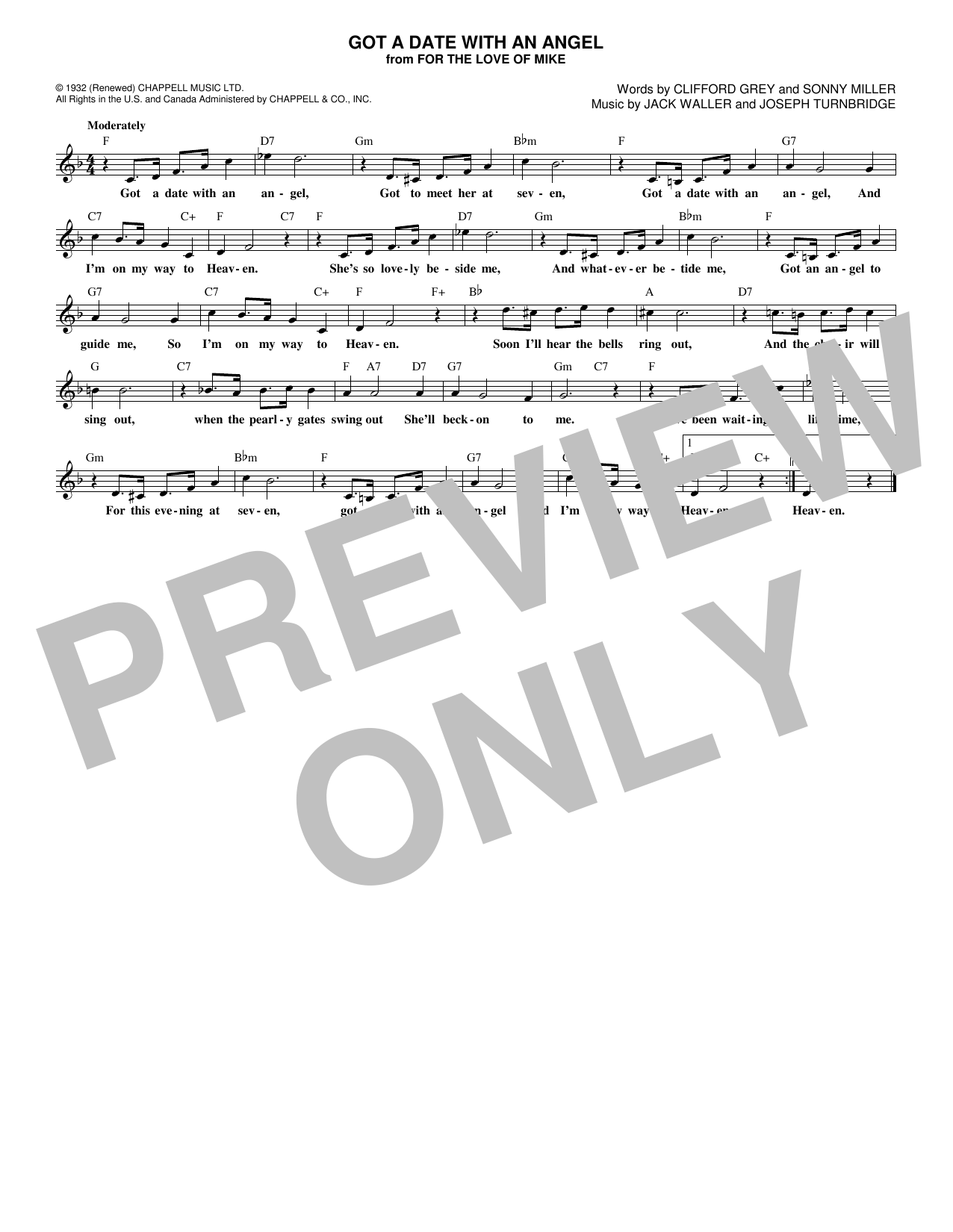 Got A Date With An Angel (Lead Sheet / Fake Book)