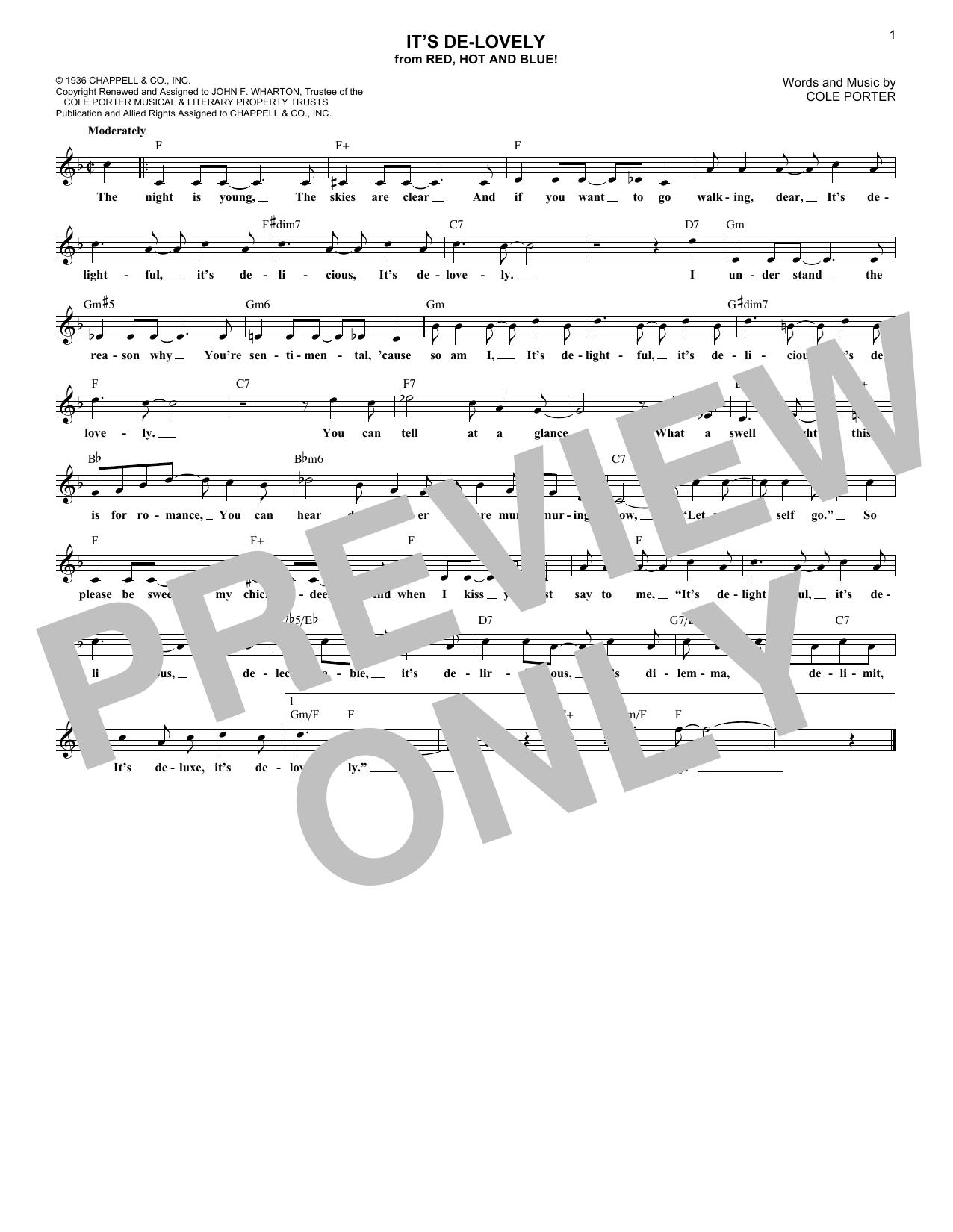 It's De-Lovely (Lead Sheet / Fake Book)