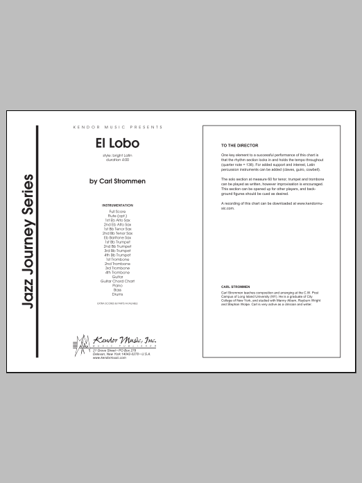 El Lobo (COMPLETE) sheet music for jazz band by Carl Strommen. Score Image Preview.