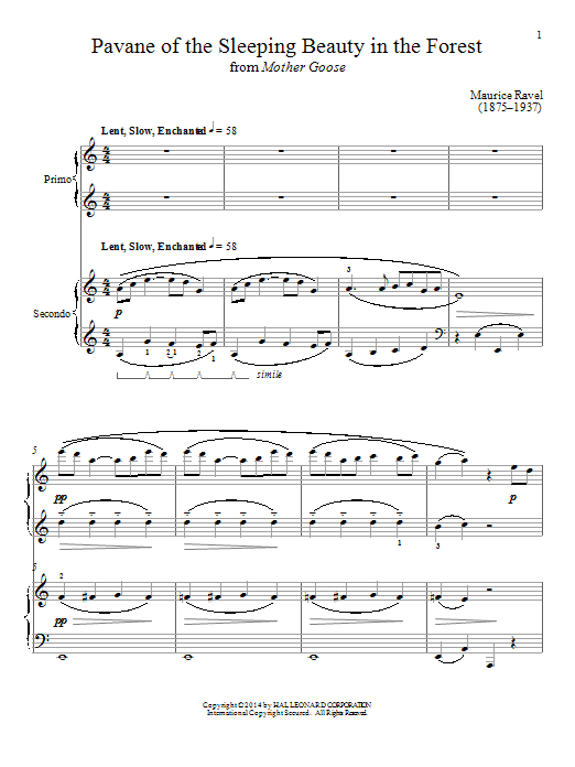 Pavane Of The Sleeping Beauty In The Forest Sheet Music
