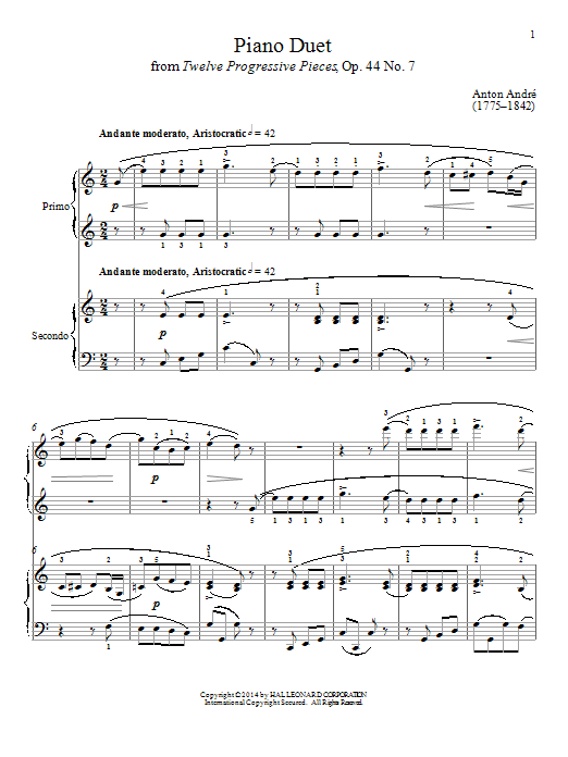 Piano Duet Sheet Music