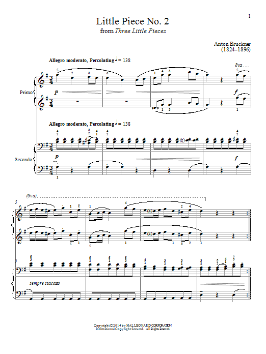 Partition piano Little Piece No. 2 de Bradley Beckman - 4 mains