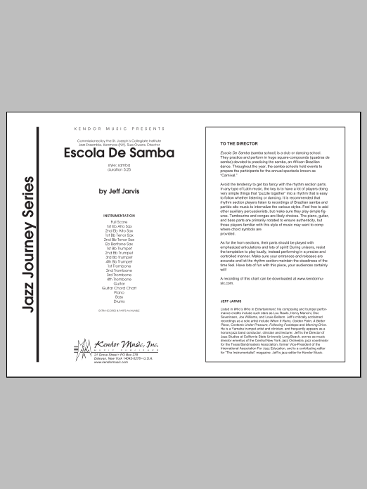 Escola De Samba (COMPLETE) sheet music for jazz band by Jarvis. Score Image Preview.