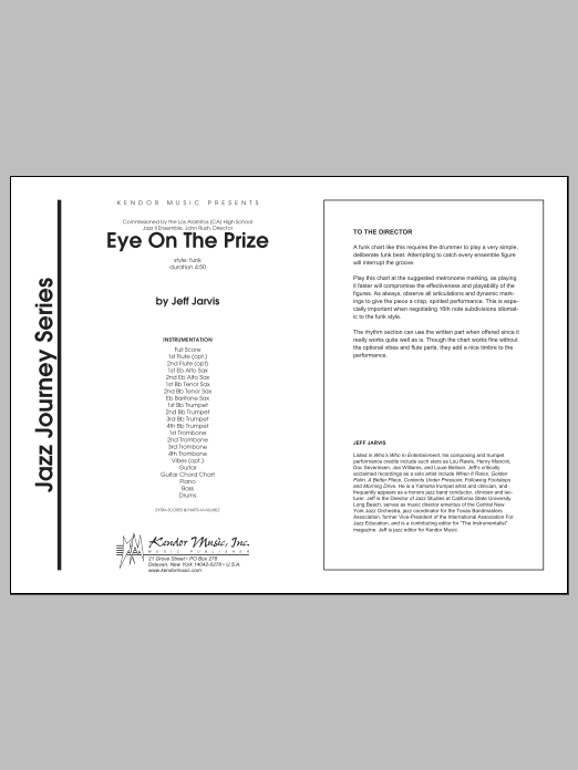 Eye On The Prize (COMPLETE) sheet music for jazz band by Jarvis. Score Image Preview.