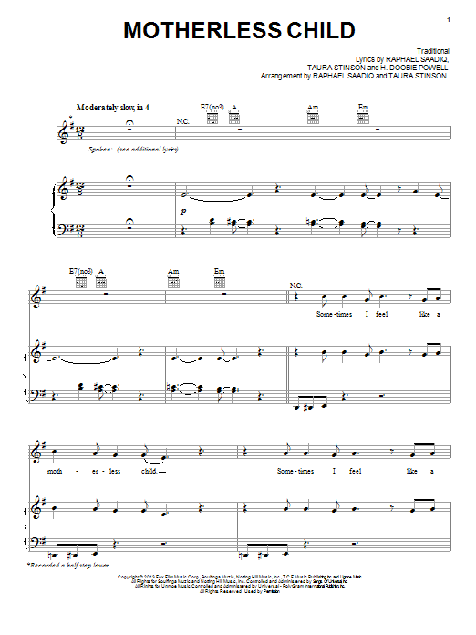 Motherless Child Sheet Music