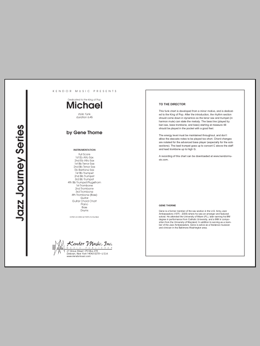Michael (COMPLETE) sheet music for jazz band by Thorne. Score Image Preview.