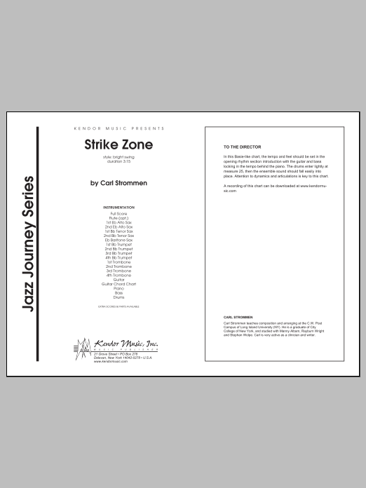 Strike Zone (COMPLETE) sheet music for jazz band by Carl Strommen. Score Image Preview.