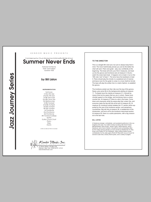 Summer Never Ends (COMPLETE) sheet music for jazz band by Liston. Score Image Preview.