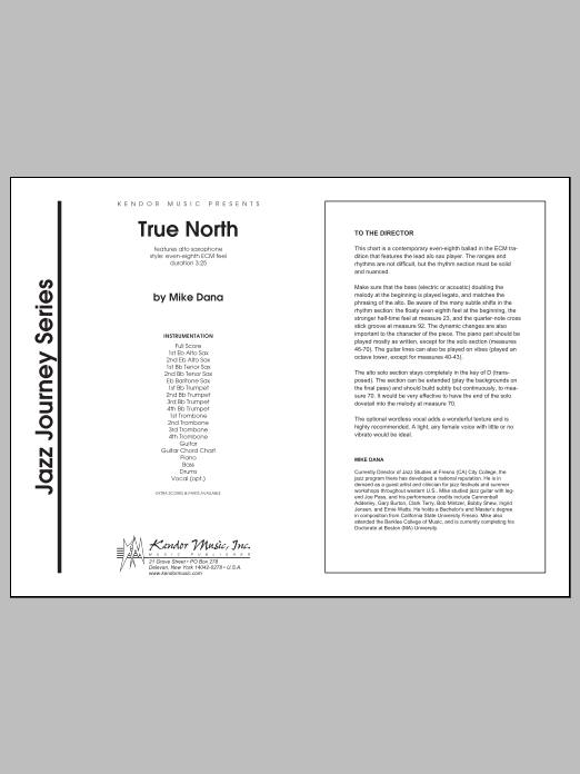 True North (COMPLETE) sheet music for jazz band by Dana. Score Image Preview.