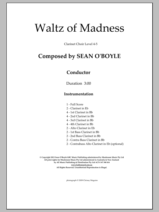 Waltz Of Madness (COMPLETE) sheet music for clarinet ensemble by Sean O'Boyle. Score Image Preview.