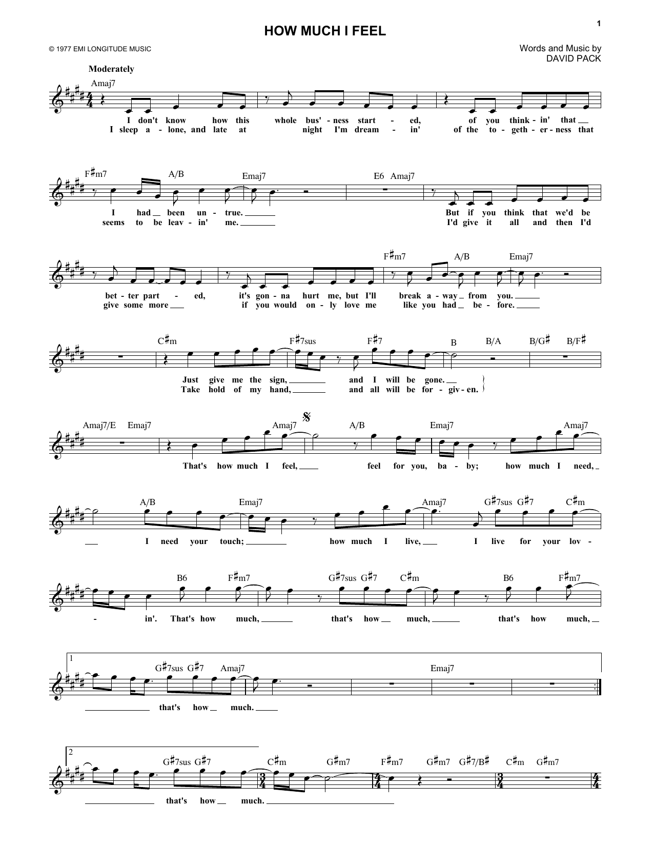 How Much I Feel Sheet Music