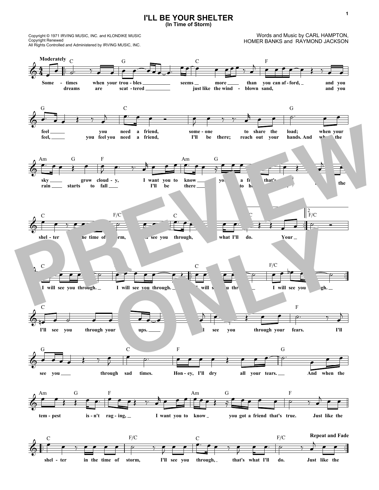 I'll Be Your Shelter (In Time Of Storm) (Lead Sheet / Fake Book)
