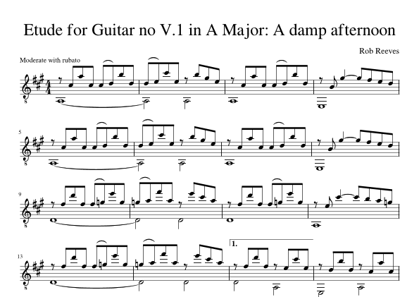 Etude for Guitar no V.1 in A Major: A damp afternoon Sheet Music