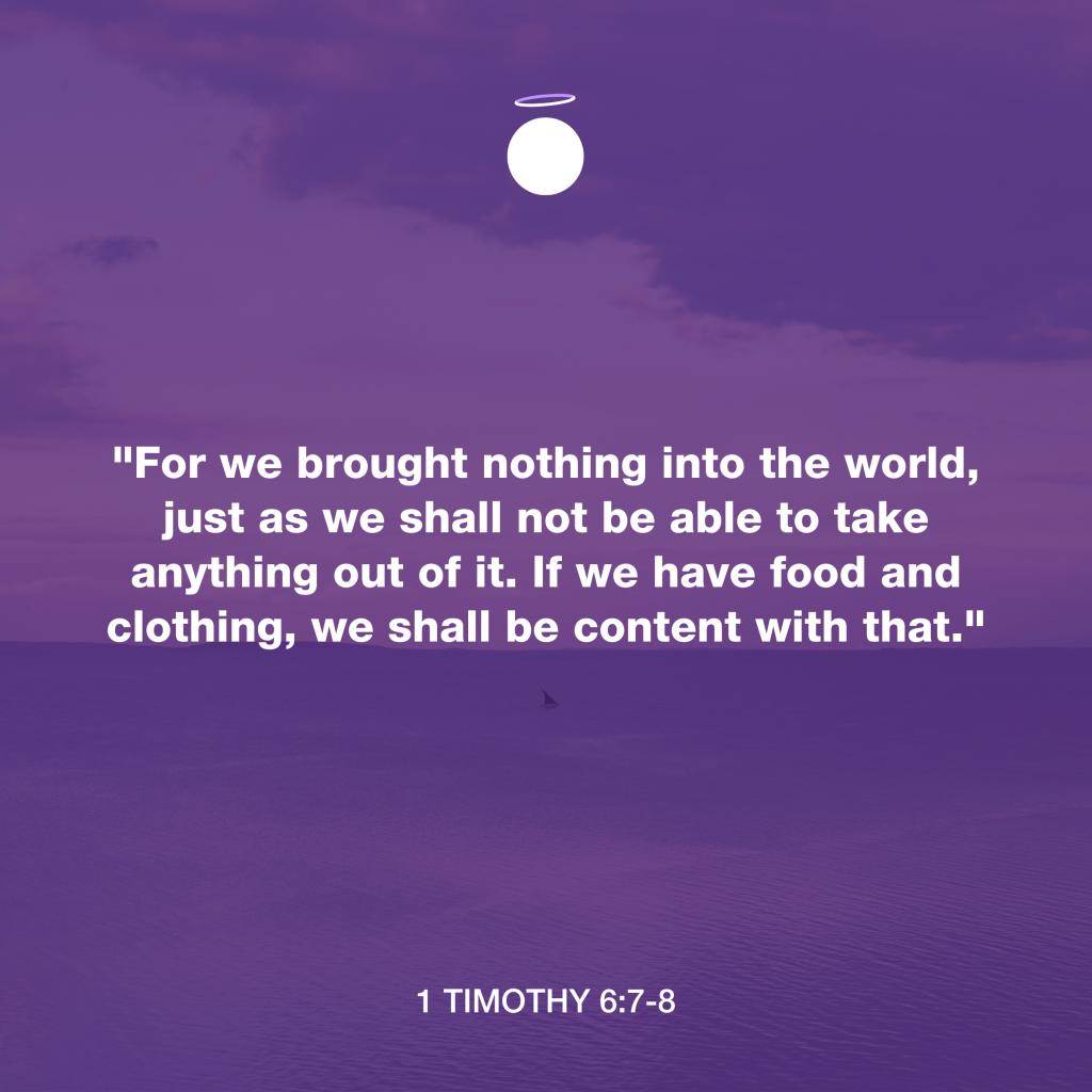 Hallow Bible Verse - Contentment - 1 Timothy 6:7-8