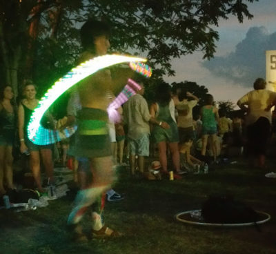 Hula Hooping and having fun at Sloss Fest