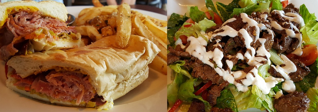 Spicy Italian Sandwich and Thai Spiced Beef Salad at The Grill at Iron City