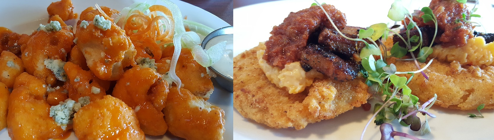 Buffalo Cauliflower and Fried Green Tomatoes at The Grill at Iron City