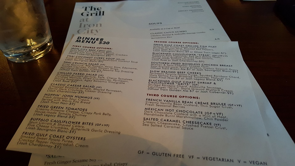 The Grill at Iron City WRW Menu