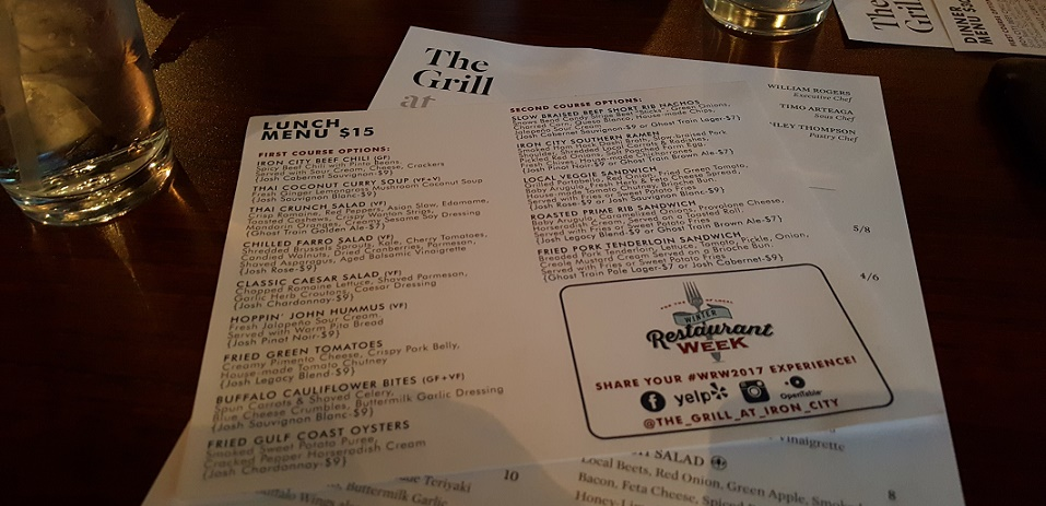 The Grill at Iron City WRW Lunch Menu