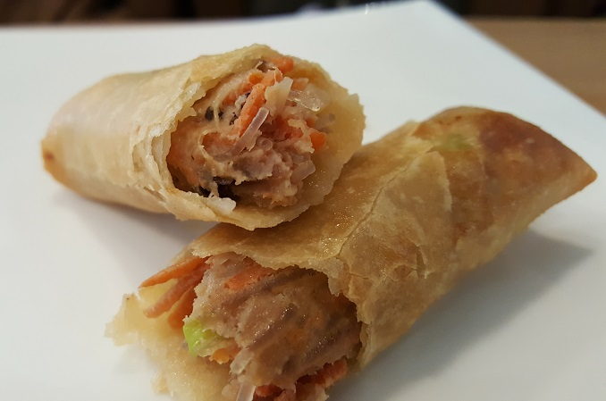 Egg Rolls inside! Love the noodles and carrots!