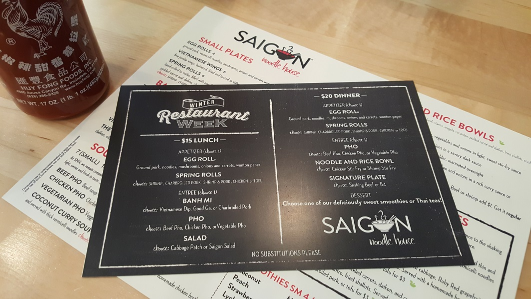 WRW Saigon Noodle House Menu